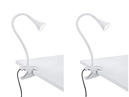 Juego de 2 lámparas LED con pinza flexible con cuello de cisne - 1 ...