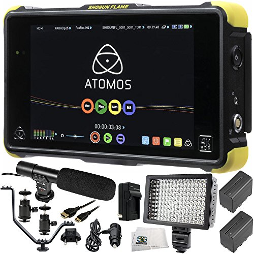 "Atomos Shogun Flame 7"" 4K HDMI Recording Monitor 12 PC Accessory Kit. Includes 2 Replacement F970 Batteries + AC/DC Rapid Home & Travel Charger + Mini HDMI Cable + More"
