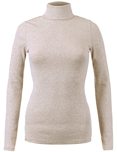 Oatmeal Color (BEKDO Womens Basic Solid Ribbed Long Sleeve Turtleneck Top-S-Oatmeal)