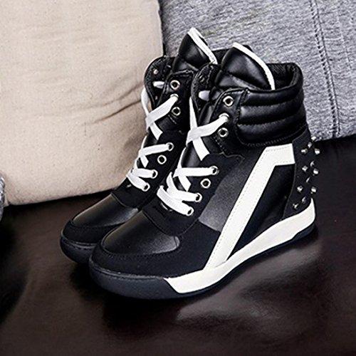 Moda Negro Corriendo Con Botines Remache Ponerse Oculto Mujer Zapatos Porciones Cordones Deportes Lmmvp Plataforma Sneakers Individuales Viajar Tacón Casual De vwXnq4H