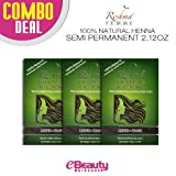 3 Pcs Combo Deal Reshma Henna Semi Permanent Hair Color 2.12oz (Raven-Black)