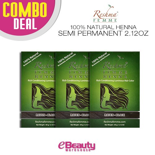 3 Pcs Combo Deal Reshma Henna Semi Permanent Hair Color 2.12oz (Raven-Black) by Reshma
