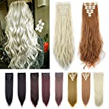 Double Weft FUT Full Head 18 Clips in 8 PCS Synthetic Hair Pieces Extensions 23-24inch 175g for Girl Lady Women