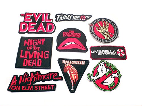 9PK Assortment Horror Film Theme DIY Easy Iron/Sew-on Embroidered Patches By Superheroes Brand