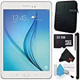 Samsung 16GB Galaxy Tab A 8.0'' Wi-Fi Tablet (White) SM-T350NZWAXAR + Universal Stylus for Tablets + Tablet Neoprene Sleeve 10.1'' Case (Black) + 32GB Class 10 Micro SD Memory Card Bundle