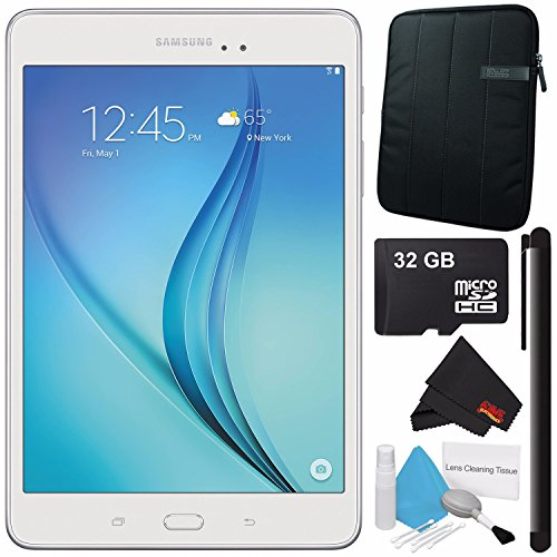 Samsung 16GB Galaxy Tab A 8.0'' Wi-Fi Tablet (White) SM-T350NZWAXAR + Universal Stylus for Tablets + Tablet Neoprene Sleeve 10.1'' Case (Black) + 32GB Class 10 Micro SD Memory Card Bundle by Samsung