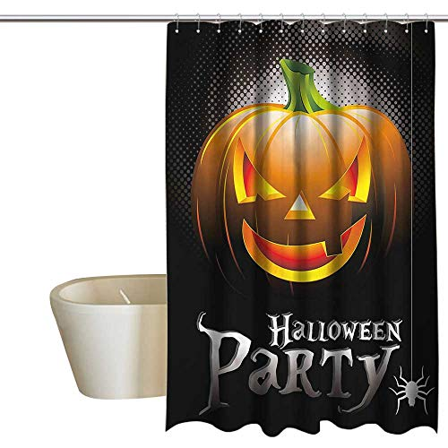RenteriaDecor Shower Curtains with Blue and White Halloween,Party Theme Scary Pumpkin,W72 x L84,Shower Curtain for -