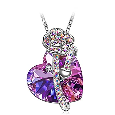 S SIVERY Mothers Day Gifts 'Love of Rose' Women Necklace with Swarovski Crystals, Jewelry for Women, Anniversary Gifts for Mom