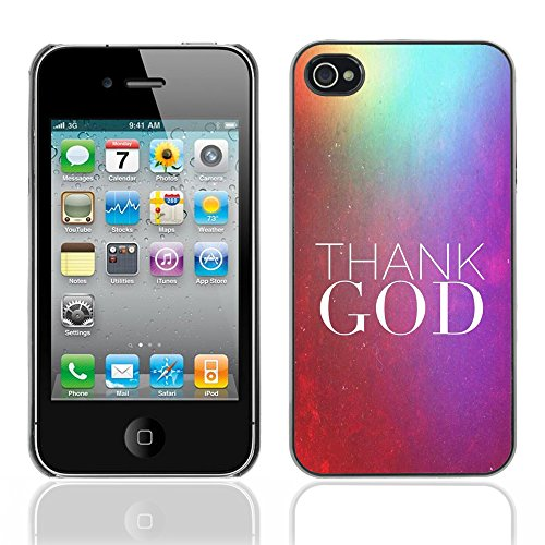 DREAMCASE Citation de Bible Coque de Protection Image Rigide Etui solide Housse T¨¦l¨¦phone Case Pour APPLE IPHONE 4 / 4S - THANK GOD