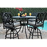 Amazon bar height and cast aluminum patio furniture sets cbm outdoor patio furniture 5 piece aluminum 48 bar table set with 4 swivel bar watchthetrailerfo