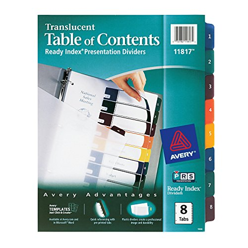 Avery  Ready Index Table of Contents Dividers, Clear, 8-Tab Set, 1 Set (11817)