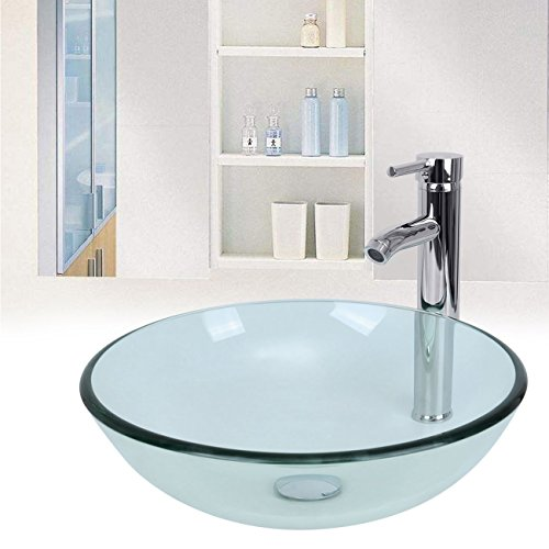 Easy Clean Tempered Glass Bathroom Basin Faucets Set - 2