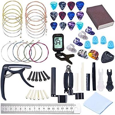 Kit de 64 piezas de accesorios para guitarra, cuerdas para cambiar ...