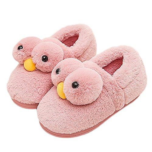 Cybling Belle Animal Poulets Maison Pantoufles Confortables Chaussures De Doublure En Fourrure Anti-dérapant Rose