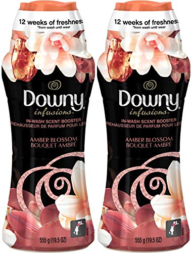 Downy Infusions in-Wash Scent Booster Beads, Amber Blossom, 19.5 Ounce (Pack of 2)