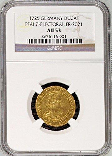 1725 DE Germany 1725 Karl Philipp gold Ducat Pfalz Electo coin AU 53 NGC