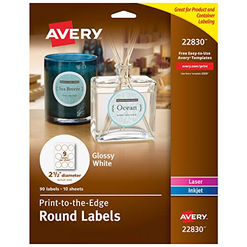 """Avery Round Labels for Laser & Inkjet Printers, 2.5"""", 135 Glossy White Labels (44830)"""