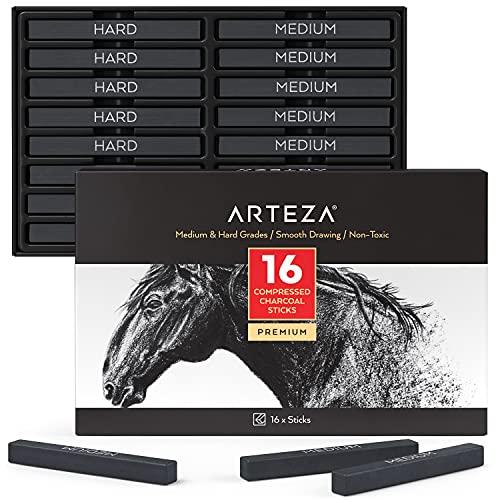 BARRAS DE CARBON PRENSADO ARTEZA- HARD/MEDIUM caja x16