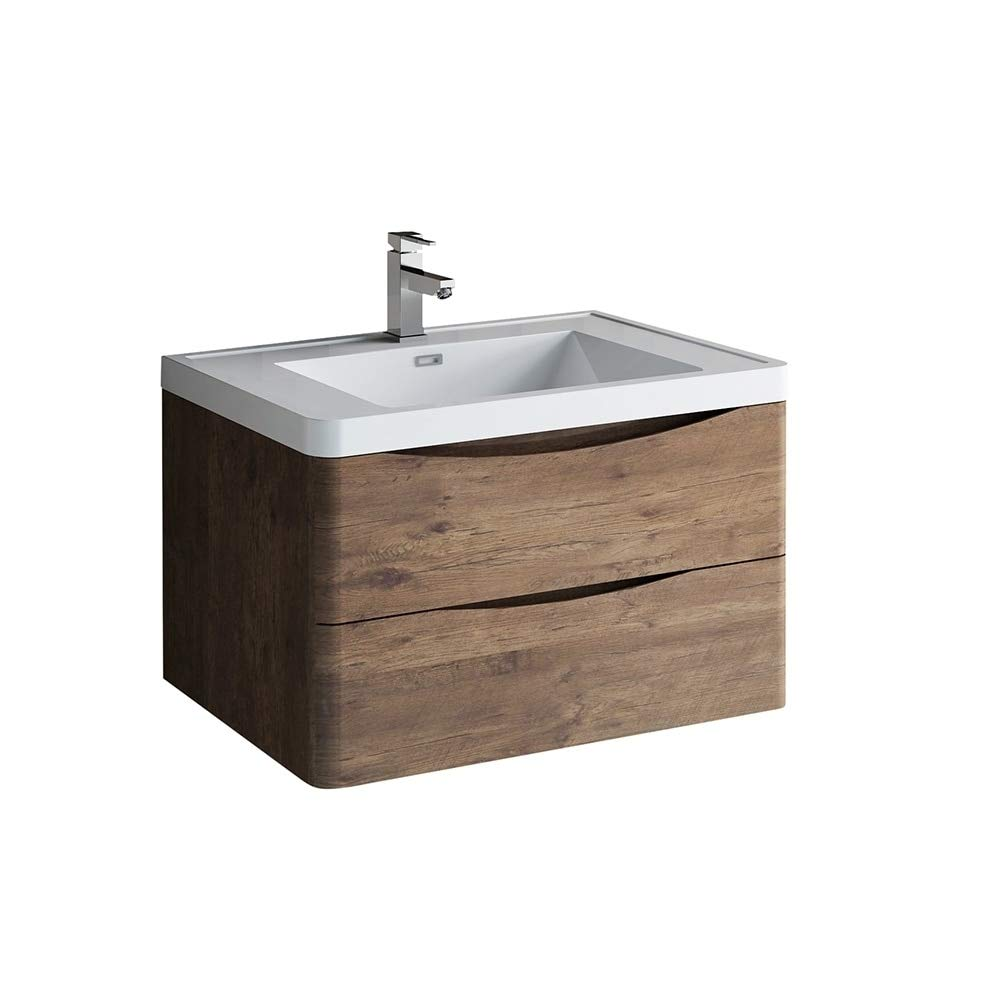 . Fresca Tuscany 32  Rosewood Wall Hung Modern Bathroom Cabinet w Integrated  Sink