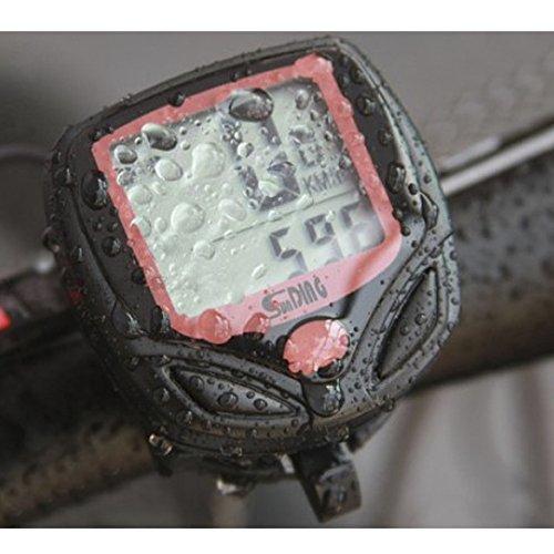 Waterproof Bicycle Bike Cycle Digital LCD Display Computer Speedometer Odometer Compact and Slim Watch Funtion Long Use Life (Black)