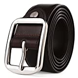 JIEJING Men's Belt,Stainless steel Pin buckles Belt Leisure wild Decoration Business Belt-dark brown 115cm(45inch)