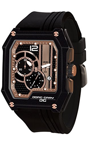 Jorg Gray JG7100-21 Men's Watch Chronograph Integrated Silicone Strap Black-Rose Gold Dial Rectangular Case