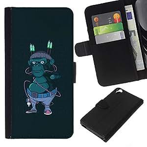 LECELL--Cuero de la tarjeta la carpeta del tirón Smartphone Slots Protección Holder For HTC Desire 820 -- Hipster Calle Gorila --