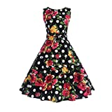 Aoopi Women's Vintage Printing Sleeveless Dress Halter Evening Party Prom Swing Dresses (Black, XL)