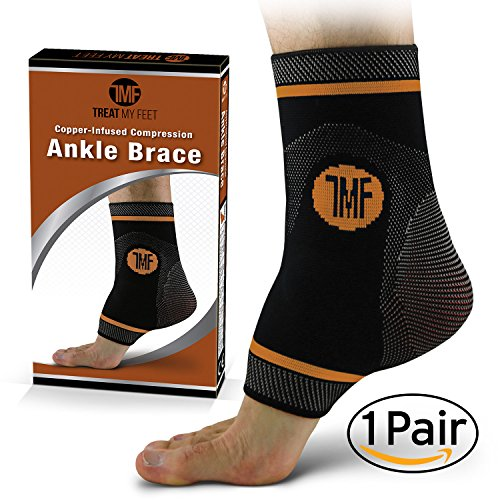Pair of Copper Infused Compression Ankle Brace, Silicone Ankle Support w/ Anti-Microbial Copper. Plantar Fasciitis, Foot, & Achilles Tendon Pain Relief. Prevent and Support Ankle Injuries & (Pair Ankle Brace)