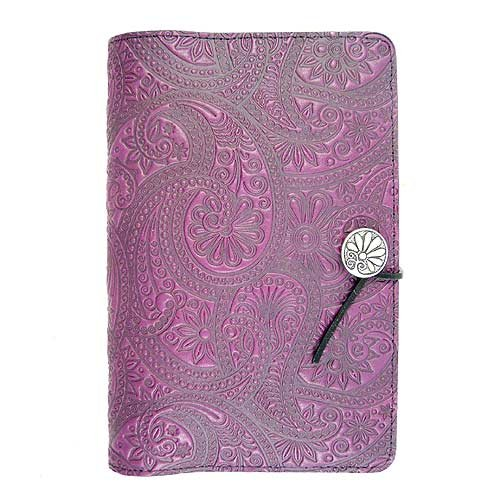 Purple Paisley American-Made Embossed Leather Writing Journal, 6 x 9-inch+ Refillable Hardbound Insert Book