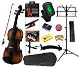 YMC Full Size 4/4 Violin Starter Kit with Hard Case,Bow,Rosin,Extra Strings,Shoulder Rest,Mute,Electronic Tuner,Pinkinest,Polish cloth,Violin Hanger,Music Stand - Antique