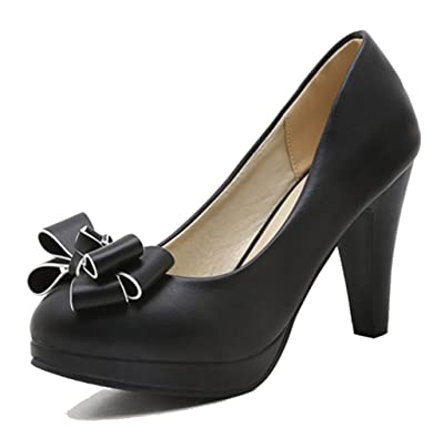 a33504d4a5063d Easemax Women s Elegant Bows Round Toe Knots Low Top High Chunky Heel Pumps  Shoes Black 4