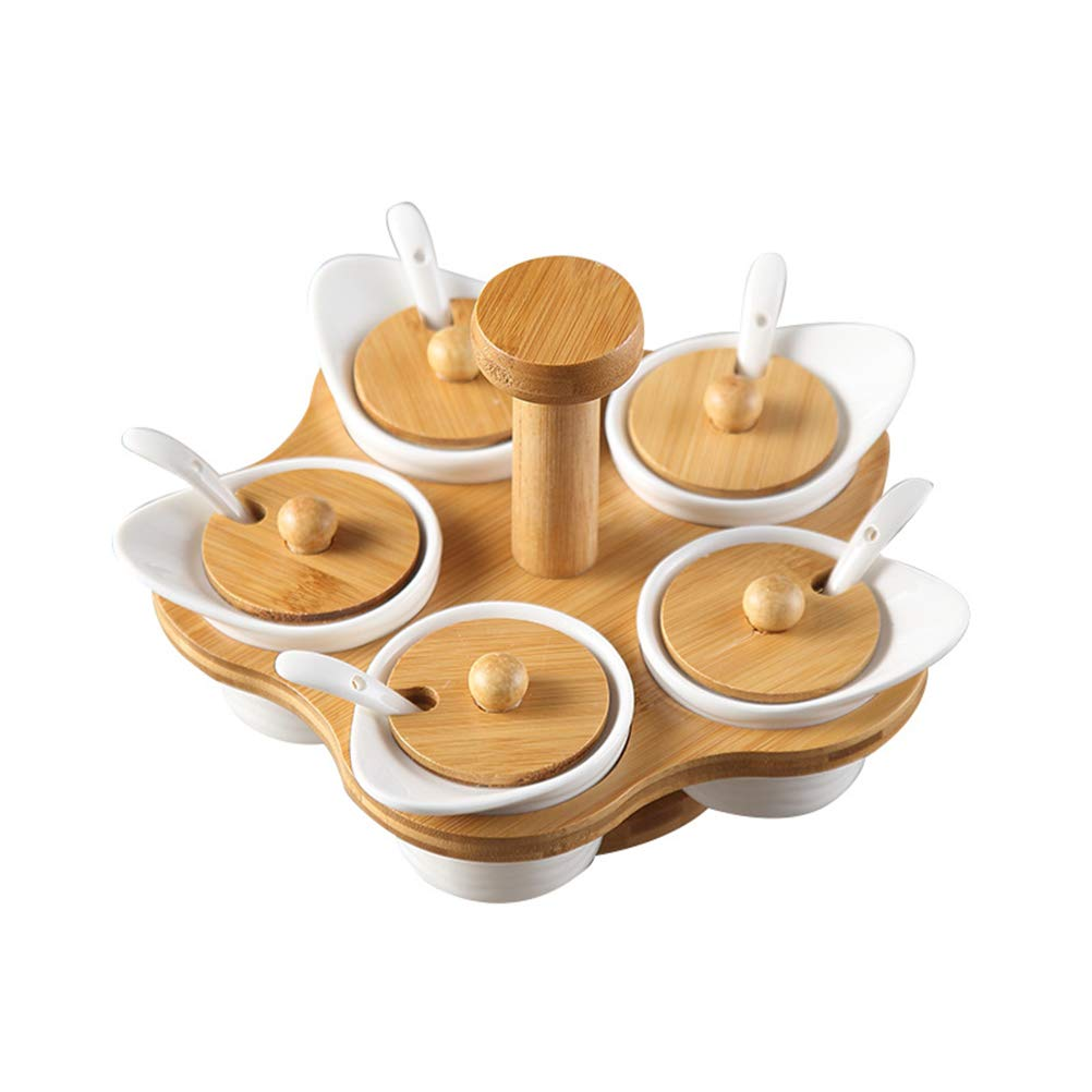 BESTONZON Ceramic Spice Jar Set Rotating Porcelain Condiment Container Seasoning Box with Wood Cover Spoon