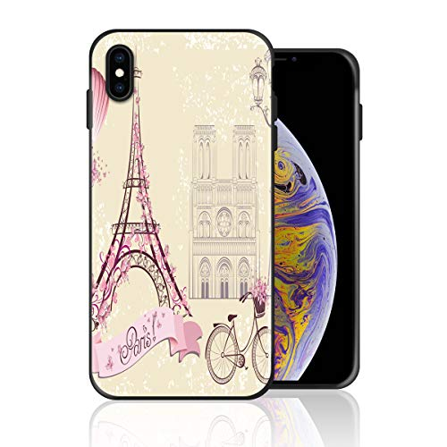 Silicone Case for iPhone 6s Plus and iPhone 6 Plus, Paris Eiffel Tower Greeting Card Design Printed Phone Case Full Body Protection Shockproof Anti-Scratch Drop Protection Cover]()