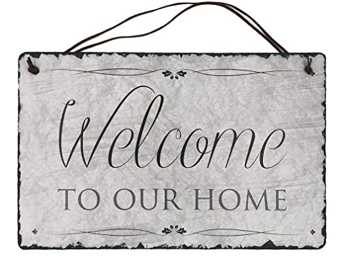 Welcome to our Home Handcrafted Slate House Sign ideal wedding or house warming gift. Beautiful kitchen wall décor rustic home sweet home available in 2 sizes 12