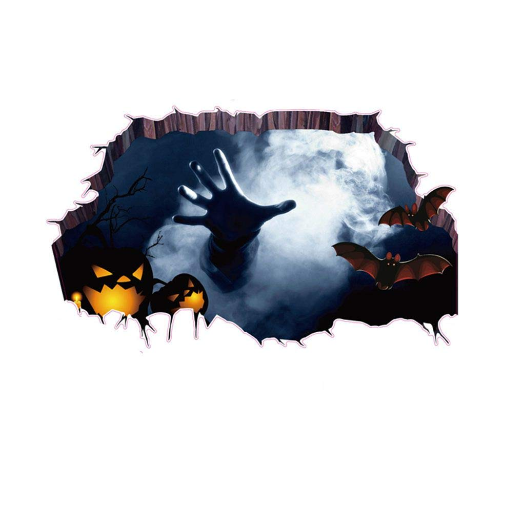 Busirde Fantasma 3D Halloween mano Bat Graffiare la carta da parati Cracked Piano spaventoso Wall Sticker Piano decalcomanie del tatuaggio del PVC removibile 60 * 45cm