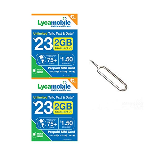 (2 Pack) Lycamobile $23 Plan 2GB of 4G LTE High-Speed Data (Then Unlimited  Normal Data) Triple Cut Sim 3G/2G Nationwide Talk/Text/Data & 75+ Countries