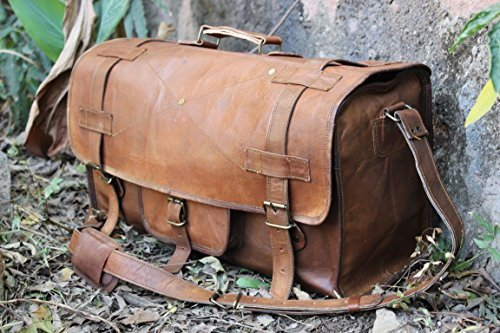 HLC Genuine Leather Handmade Vintage Duffel Luggage Travel Bag Duffel Gym Bag Yogo Bag Travelling Bag by HLC (Image #5)