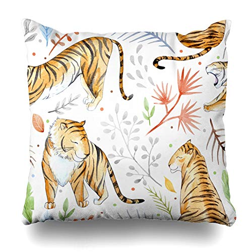 - Ahawoso Throw Pillow Covers Floral Watercolor Tropical Tiger Jungle Nature Cat Green Pattern Abstract Leopard Design Home Decor Pillowcase Square Size 20