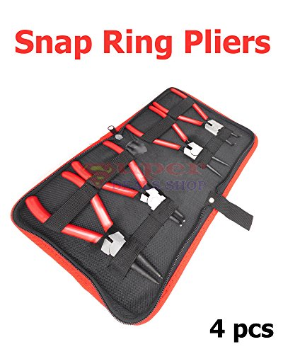 4 pcs Circlip Plier Snap Ring Retaining Kit with Storage Pouch Clips Automotive and Engine Repair Projects Heavy Duty Super-Deals-Shop