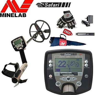 MINELAB Safari – Detector de metal especial paquete incluye minelab guantes, bolsa de transporte y minelab battery pack & Charger