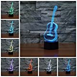Wosports 3D iLLusion Night Light 7 Colors Changing Table Desk Deco Lamp Bedroom Children Room Decorative Night Light (Guitar)