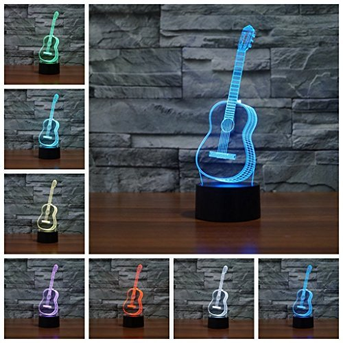 Wosports 3D iLLusion Night Light 7 Colors Changing Table Desk Deco Lamp Bedroom Children Room Decorative Night Light (Guitar) by Wosports