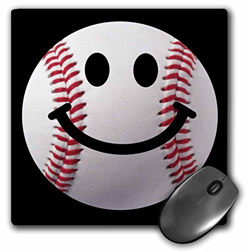 - 3dRose InspirationzStore Smiley Face Collection - Baseball Smiley Face - Sporty Sports fan smilie red and white ball on dark black background - MousePad (mp_76657_1)