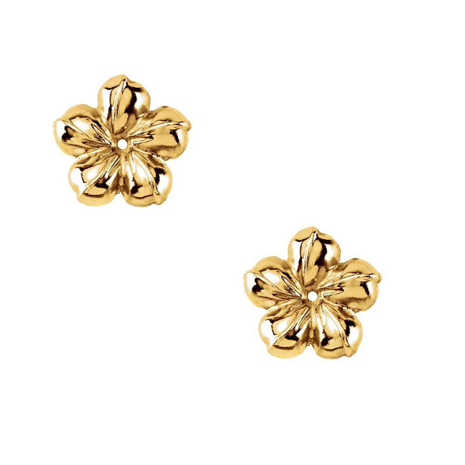 Amazon.com: 14KY Gold Flower Earring Jacket 13mm Diameter: Jewelry
