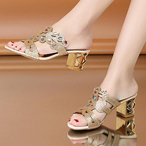 Gioiello Donna Alto Beautyjourney Eleganti Medio Sandali Elegant Qg Scarpe Con Estive Ragazze Zeppa Tacco vSpwxSP