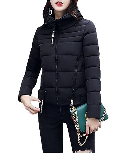 Abrigo De Invierno Chaqueta Corta Outwear Manga Larga Para Mujer Negro L