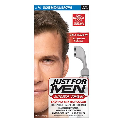 Just For Men AutoStop Men's Comb-In Hair Color, Light Medium - Brown Mix Color