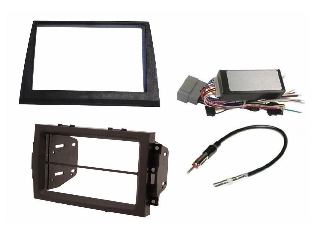 Double Din Aftermarket Radio Stereo Navigation Bezel Conversion Dash Kit + Can BUS Factory Amplified Systems Radio Replacement Wire Harness & Antenna Adatper Fitted For Jeep Commander 2006-2007