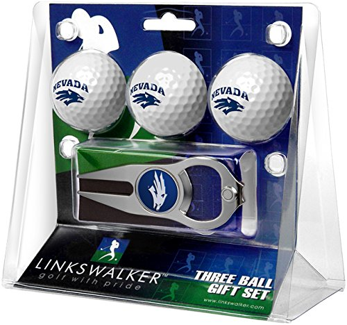 NCAA Nevada Wolfpack - 3 Ball Gift Pack with Hat Trick Divot Tool